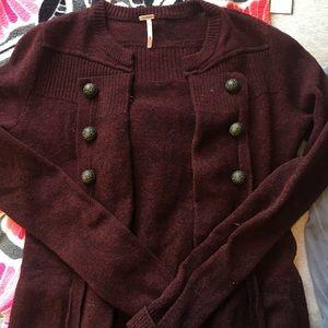 Free People Burgundy Sweater
